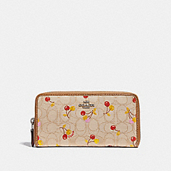 COACH F31563 Accordion Zip Wallet In Signature Jacquard With Cherry Print SILVER/LIGHT KHAKI MULTI