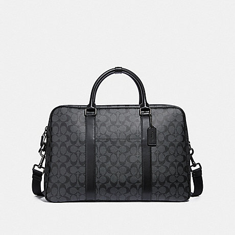 COACH f31564 OVERNIGHT BAG IN SIGNATURE CANVAS CHARCOAL/BLACK