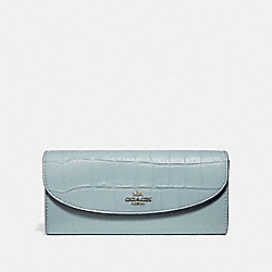 COACH F31565 Slim Envelope Wallet SILVER/PALE BLUE