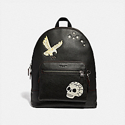 COACH F31567 West Backpack With Eagle Motif BLACK MULTI/BLACK ANTIQUE NICKEL