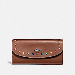 COACH F31568 Slim Envelope Wallet With Rainbow Rivets DARK SADDLE/BLACK ANTIQUE NICKEL