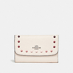 COACH F31569 Medium Envelope Wallet With Rainbow Rivets SILVER/CHALK