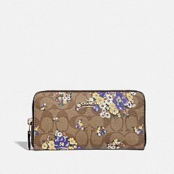 COACH F31572 Accordion Zip Wallet In Signature Canvas With Medley Bouquet Print KHAKI MULTI /LIGHT GOLD