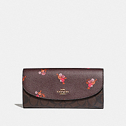 SLIM ENVELOPE WALLET IN SIGNATURE CANVAS AND BABY BOUQUET PRINT - f31573 - OXBLOOD MULTI/light gold