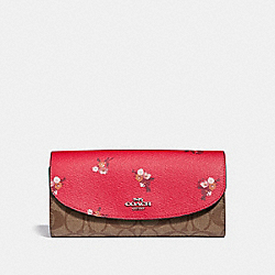SLIM ENVELOPE WALLET IN SIGNATURE CANVAS AND BABY BOUQUET PRINT - f31573 - BRIGHT RED MULTI /SILVER