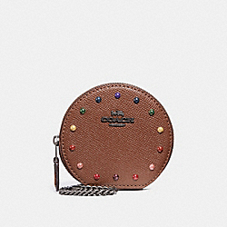 COACH F31574 - ROUND COIN CASE WITH RAINBOW RIVETS DARK SADDLE/BLACK ANTIQUE NICKEL