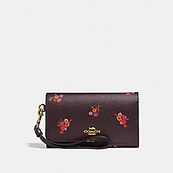 COACH F31575 Flap Phone Wallet With Baby Bouquet Print OXBLOOD MULTI/LIGHT GOLD