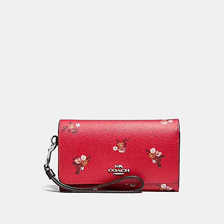 COACH F31575 FLAP PHONE WALLET WITH BABY BOUQUET PRINT BRIGHT-RED-MULTI-/SILVER