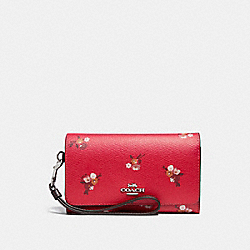 FLAP PHONE WALLET WITH BABY BOUQUET PRINT - f31575 - BRIGHT RED MULTI /SILVER