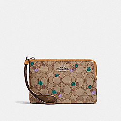 COACH F31577 Corner Zip Wristlet In Signature Jacquard With Cherry Print KHAKI MULTI /SILVER
