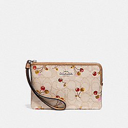 COACH F31577 Corner Zip Wristlet In Signature Jacquard With Cherry Print SILVER/LIGHT KHAKI MULTI