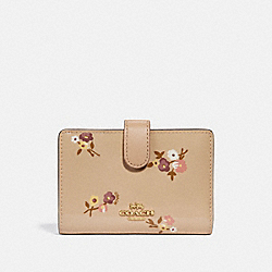 COACH F31578 Medium Corner Zip Wallet With Baby Bouquet Print BEECHWOOD MULTI/LIGHT GOLD