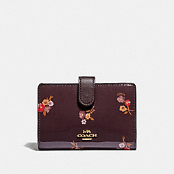 COACH F31578 Medium Corner Zip Wallet With Baby Bouquet Print OXBLOOD MULTI/LIGHT GOLD