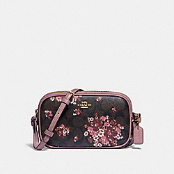 COACH F31580 Crossbody Pouch In Signature Canvas With Medley Bouquet Print BROWN MULTI/LIGHT GOLD