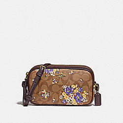 CROSSBODY POUCH IN SIGNATURE CANVAS WITH MEDLEY BOUQUET PRINT - f31580 - KHAKI MULTI /light gold