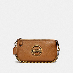 COACH F31584 Large Wristlet 19 LIGHT SADDLE/OLD BRASS