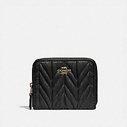 COACH F31600 Small Zip Around Wallet With Quilting BLACK/LIGHT GOLD