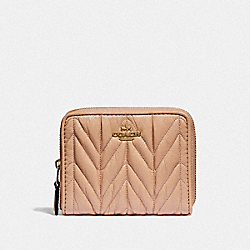 COACH F31600 Small Zip Around Wallet With Quilting BEECHWOOD/LIGHT GOLD