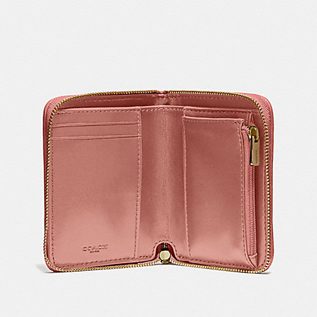 COACH F31600 SMALL ZIP AROUND WALLET WITH QUILTING MELON/LIGHT GOLD
