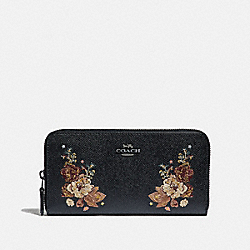 COACH F31603 Accordion Zip Wallet With Tattoo Embroidery BLACK MULTI/BLACK ANTIQUE NICKEL