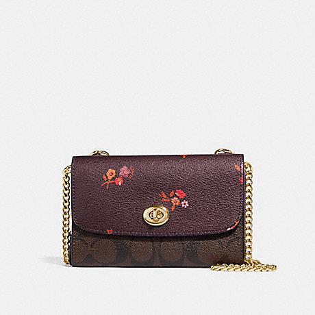 COACH F31608 FLAP PHONE CHAIN CROSSBODY IN SIGNATURE CANVAS AND BABY BOUQUET PRINT OXBLOOD-MULTI/LIGHT-GOLD