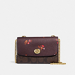 FLAP PHONE CHAIN CROSSBODY IN SIGNATURE CANVAS AND BABY BOUQUET PRINT - f31608 - OXBLOOD MULTI/light gold