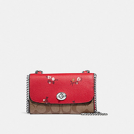COACH F31608 FLAP PHONE CHAIN CROSSBODY IN SIGNATURE CANVAS AND BABY BOUQUET PRINT BRIGHT-RED-MULTI-/SILVER