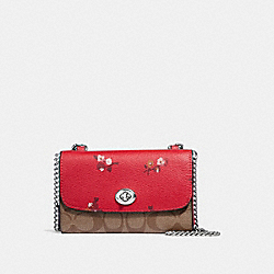 FLAP PHONE CHAIN CROSSBODY IN SIGNATURE CANVAS AND BABY BOUQUET PRINT - f31608 - BRIGHT RED MULTI /SILVER
