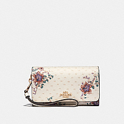 COACH F31609 Flap Phone Wallet With Mini Magnolia Bouquet Print CHALK MULTI/LIGHT GOLD