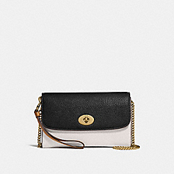 CHAIN CROSSBODY IN COLORBLOCK - f31611 - CHALK/BLACK MULTI/light gold