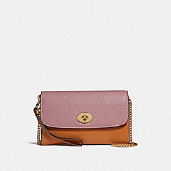 COACH F31611 Chain Crossbody In Colorblock DUSTY ROSE/ORANGE MULTI /LIGHT GOLD