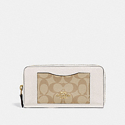 COACH F31612 Accordion Zip Wallet In Colorblock Signature Canvas LIGHT KHAKI/CHALK/GOLD