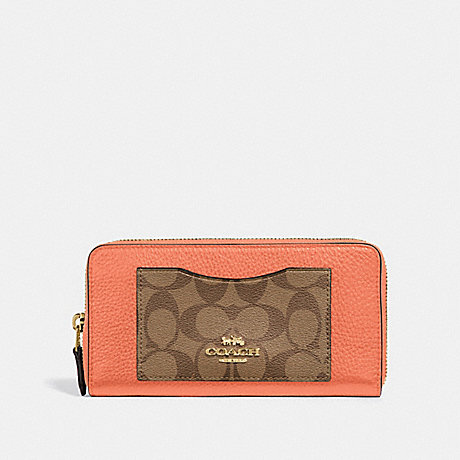 COACH F31612 ACCORDION ZIP WALLET IN COLORBLOCK SIGNATURE CANVAS LIGHT CORAL/MULTI/GOLD
