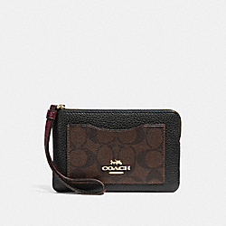 COACH F31613 Corner Zip Wristlet In Signature Canvas Colorblock BROWN/BLACK/LIGHT GOLD