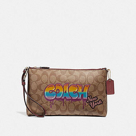 COACH F31615 LARGE WRISTLET 25 IN SIGNATURE CANVAS WITH GRAFFITI KHAKI/LIGHT-GOLD