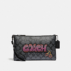 COACH F31615 - LARGE WRISTLET 25 IN SIGNATURE CANVAS WITH GRAFFITI BLACK SMOKE MULTI/BLACK ANTIQUE NICKEL