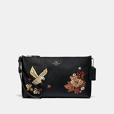COACH F31617 LARGE WRISTLET 25 WITH TATTOO EMBROIDERY BLACK-MULTI/BLACK-ANTIQUE-NICKEL