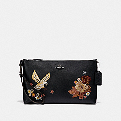 COACH F31617 - LARGE WRISTLET 25 WITH TATTOO EMBROIDERY BLACK MULTI/BLACK ANTIQUE NICKEL