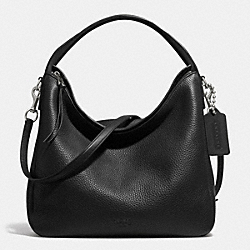COACH F31623 - BLEECKER SULLIVAN HOBO IN PEBBLE LEATHER  SILVER/BLACK