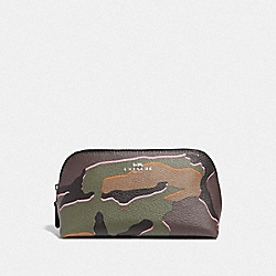 COACH F31625 Cosmetic Case 17 With Wild Camo Print GREEN MULTI/SILVER