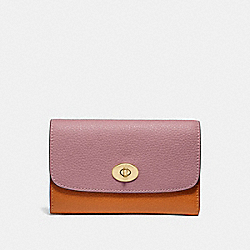 COACH F31650 Medium Envelope Wallet In Colorblock DUSTY ROSE/ORANGE MULTI /LIGHT GOLD