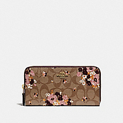 ACCORDION ZIP WALLET IN SIGNATURE CANVAS WITH FLORAL FLOCKING - f31651 - KHAKI MULTI /light gold