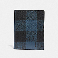 COACH F31658 Passport Case With Buffalo Check Print BLUE MULTI/BLACK ANTIQUE NICKEL