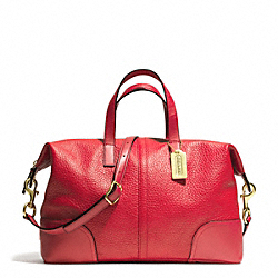 COACH F31663 Hadley Luxe Grain Leather Zip Satchel BRASS/BRIGHT RED