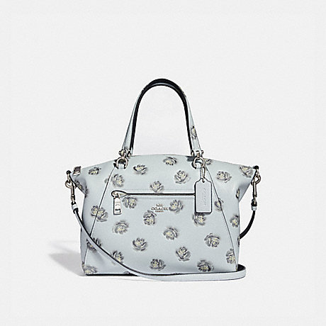 COACH F31711 PRAIRIE SATCHEL WITH ROSE PRINT SKY/SILVER