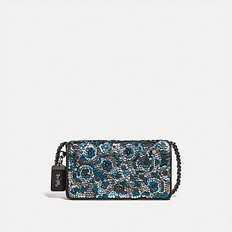COACH F31732 DINKY WITH LEATHER SEQUIN BLUE MULTI/BLACK COPPER