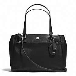 COACH F31744 - PEYTON LEATHER JORDAN DOUBLE ZIP CARRYALL SILVER/BLACK