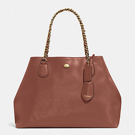 COACH f31752 PEYTON LEATHER CHAIN TOTE BRASS/SADDLE