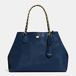 COACH F31752 Peyton Leather Chain Tote IM/NAVY