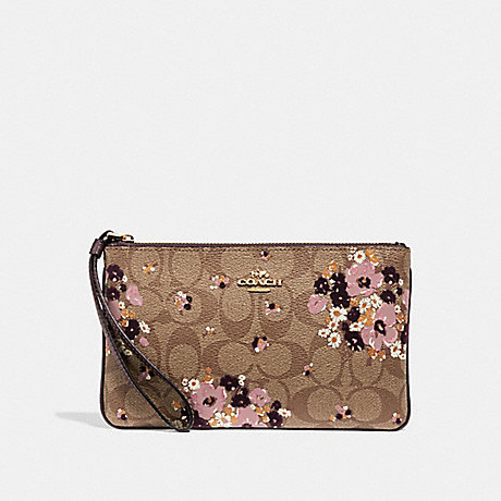 COACH F31770 LARGE WRISTLET IN SIGNATURE CANVAS WITH FLORAL FLOCKING KHAKI MULTI /LIGHT GOLD